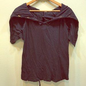 All Saints Sleeveless Shirt with Shawl Collar